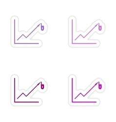 Set of stylish sticker on paper Economic graph vector image