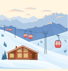 Ski resort with red ski cabin lift on cableway vector