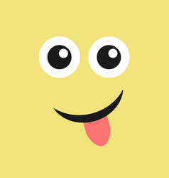 smile face with tongue sticking out vector image