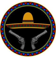 sombrero and two pistols vector image