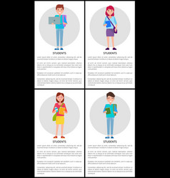 students first freshman former pupils boys girls vector image