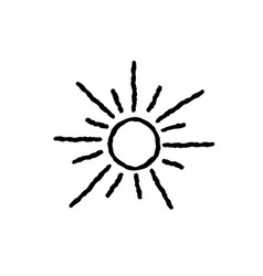 sun icon isolated over white background doodle vector image