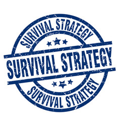 Survival strategy blue round grunge stamp vector