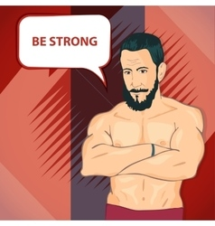 The man with the muscles Posing bodybuilding vector