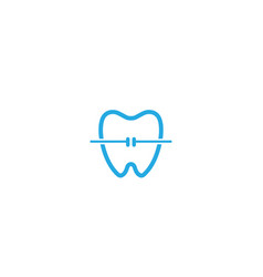 Tooth with dental wire for orthodontic for logo vector