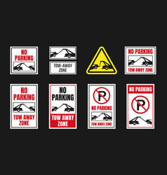 tow away zone signs no parking icon set vector image