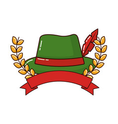 Traditional german hat with ribbon and crown vector