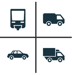 Transportation icons set collection of van vector