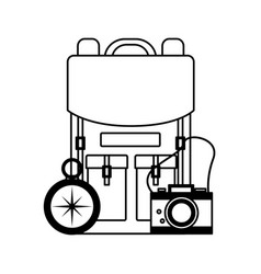travel backpack camera compass vector image