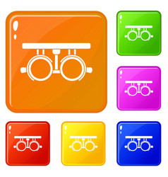 Trial frame for checking patient vision icons set vector