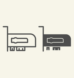 Video card line and glyph icon hardware vector