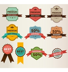 vintage labels set discount and premium vector image