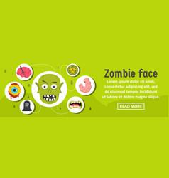 Zombie face banner horizontal concept vector