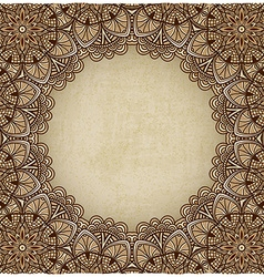 brown frame floral ornament old background vector image