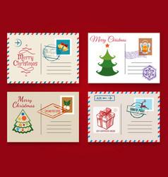 christmas postcard template set vector image