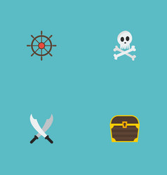 flat icons cranium chest ship steering wheel and vector image