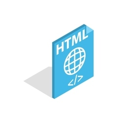 HTML file extension icon isometric 3d style vector image vector image
