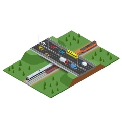 Railway road and track with the traffic Modern vector image