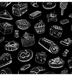 Sweet pastries on chalkboard vector image vector image
