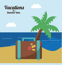 vacations in paradise suitcase palm beach vector image