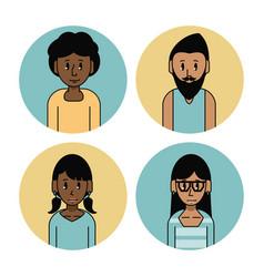 Young friends cartoons set vector