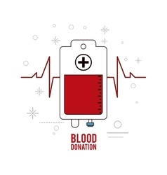 blood bag pulse donation icon graphic vector image vector image