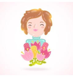 Cute cartoon woman with flowers vector image