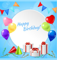 happy birthday frame realistic vector image