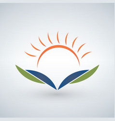 knowledge logo design templatesunset open book vector image