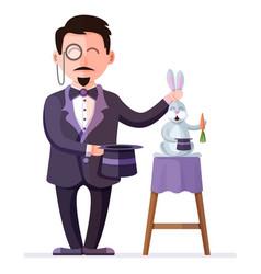Magician holding rabbit and magic hat vector
