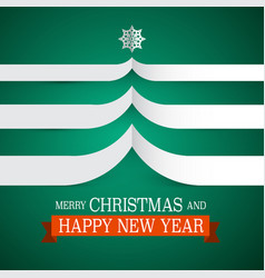 merry christmas card with paper tree and vector image vector image