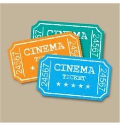 Realistic retro paper cinema tickets vector image