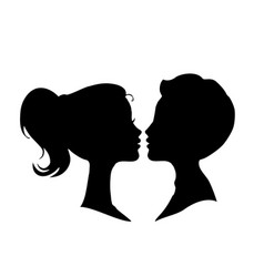 black silhouettes of loving couple isolated on vector image vector image