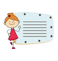 cute little girl card character vector image