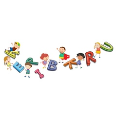 kids playing with alphabets vector image vector image
