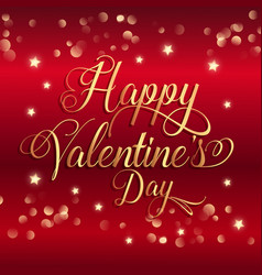 valentines day background with gold stars and vector image vector image