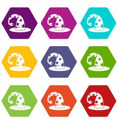 wizards hat icon set color hexahedron vector image