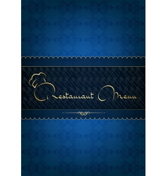 Blue restaurant menu decorated with floral pattern vector image vector image