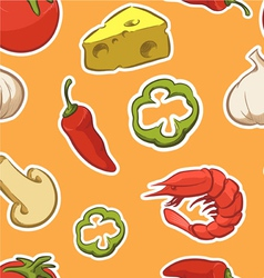Food Pizza Ingredient Seamless Pattern vector image