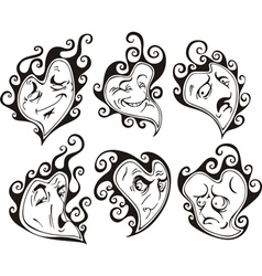 Heart shaped faces vector image vector image