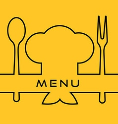 Icon of Chef Cook cap with fork spoon and vector image