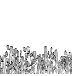 seamless cactus border from saguaro cactus sketch vector image vector image