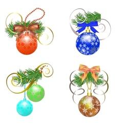 Set of Christmas ball vector image