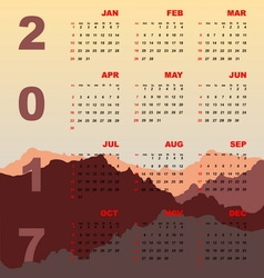 Sunset mountain view of 2017 calendar vector image