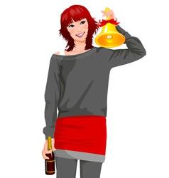 woman celebration vector image vector image