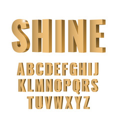 3d gold symbols alphabet vector image