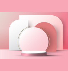3d realistic elegant white cylinder on circle vector