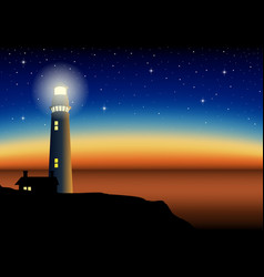 A lighthouse during sunset vector