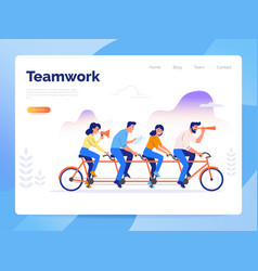 A team four business people riding a bike vector
