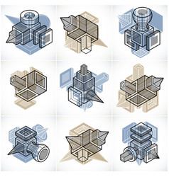 Abstract 3d simple geometric shapes set vector